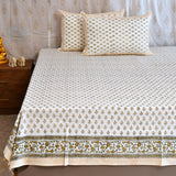 Block Print Yellow Buds King Size Cotton Double Bedsheet