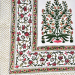 Block Print Mehendi Bouquet King Size Cotton Bedsheet