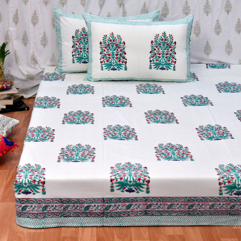 Block Print Green Bouquet King Size Cotton Bedsheet