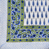 Block Print Blue Trees King Size Cotton Bedsheet