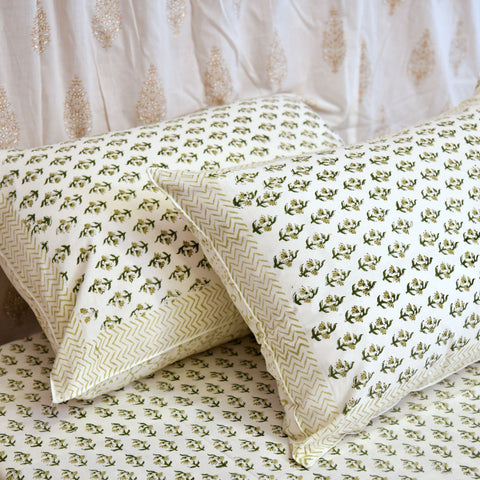 Block Print Green Sepal King Size Cotton Double Bedsheet