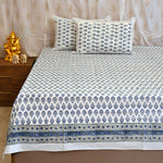 Block Print Blue Flowers King Size Cotton Double Bedsheet