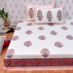 Block Print Pink Lily King Size Cotton Bedsheet