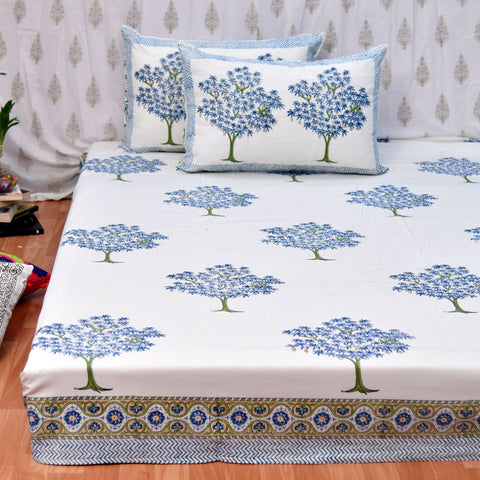 Block Print Blue Mango Tree King Size Cotton Bedsheet