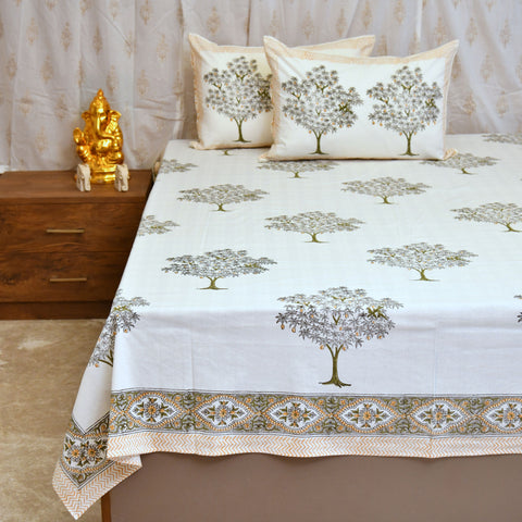 Block Print Yellow Mangos King Size Cotton Double Bedsheet