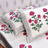 Block Print Pink Roses King Size Cotton Bedsheet