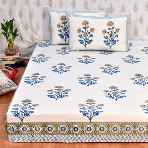 Block Print Yellow Roses King Size Cotton Bedsheet