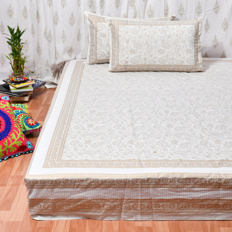 Khadi Gold Print Cotton Double Bedsheet