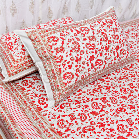 Red & Gold Print Cotton Double Bedsheet