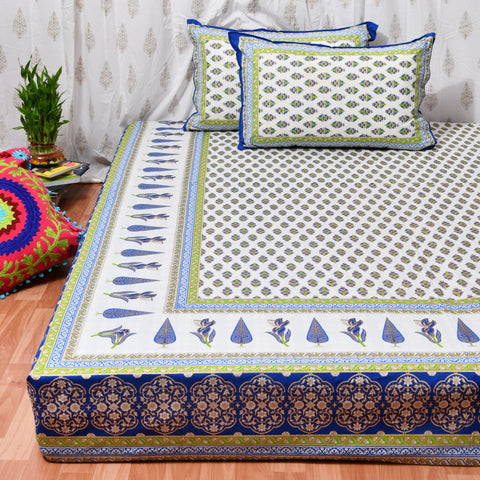 Blue & Gold Print King Size Cotton Double Bedsheet