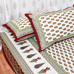 Maroon & Gold Print King Size Cotton Double Bedsheet