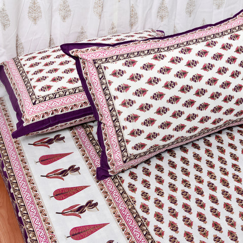 Pink & Gold Print King Size Cotton Double Bedsheet