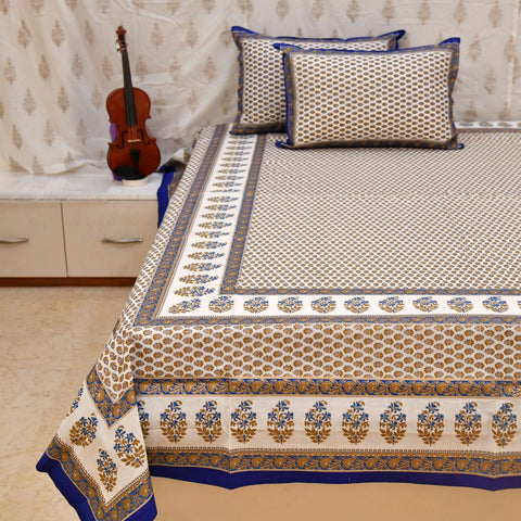 Gold & Blue Print King Size Cotton Double Bedsheet