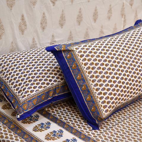 Gold & Blue Print Cotton Double Bedsheet