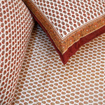 Gold & Brown Print Cotton Double Bedsheet