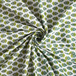 Gold & Green Print King Size Cotton Double Bedsheet