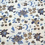 Block Print Blue & Gold Cotton Double Bed Sheet