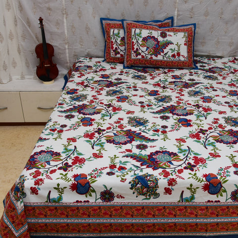 Gulmohar Cotton Double Bed Sheet : Handmade in 10 Colors (White)