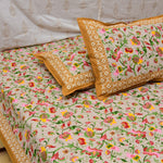 Pastel Flowers Cotton Double Bed Sheet (Brown)