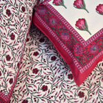 Floral Tulips King Size Cotton Double Bed Sheet Maroon