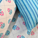Blue Motifs Cotton Double Bed Sheet (108 x 108)