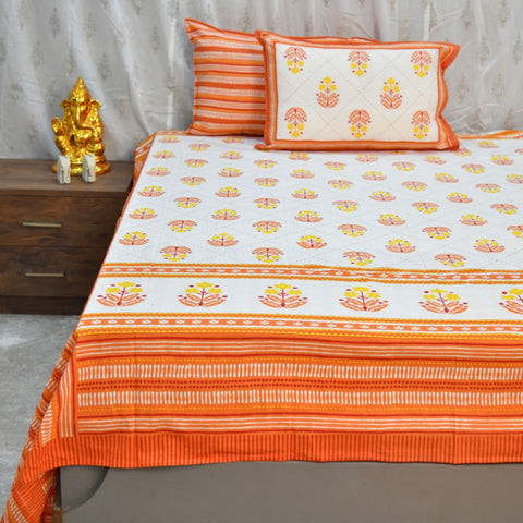 Orange Motifs Cotton Double Bed Sheet (108 x 108)