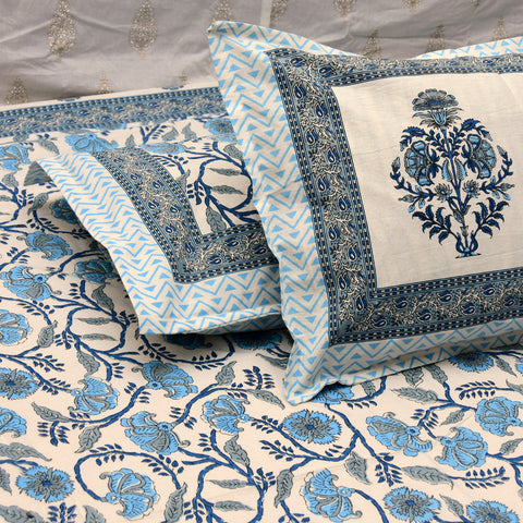 Super King Block Print Blue Jaal Bedsheet (104x106 inch)