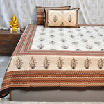 Super King Size Brown & Gold Mosaic Bed Sheet (108 x 108)