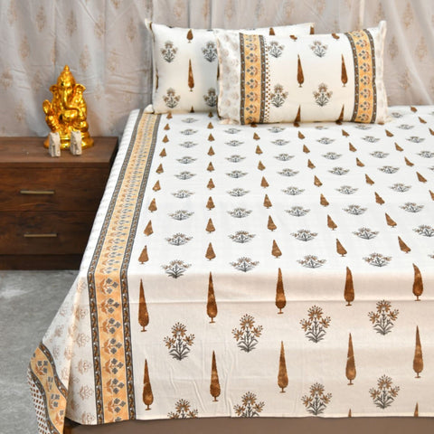 Hand Block Print Super King Size Brown Bed Sheet (108 x 108)