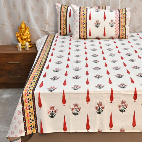 Hand Block Print Super King Size Maroon Bed Sheet (108 x 108)