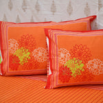 Super King Size Orange Cotton Double Bed Sheet (108x108 inch)