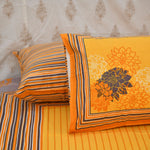 Super King Size Yellow Cotton Double Bed Sheet (108x108 inch)
