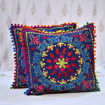Cotton Embroidered Blue Abstract Cushion Covers- 16X16 Inch (Set Of 5)