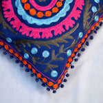 Cotton Embroidered Blue Asssorted Cushion Covers- 16X16 Inch (Set Of 5)