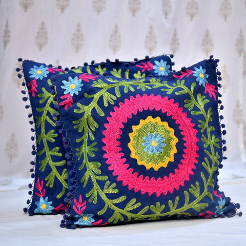 Cotton Embroidered Dark Blue Circle Cushion Covers- 16X16 Inch (Set Of 5)