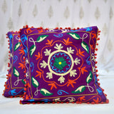 Cotton Embroidered Purple Leaf Cushion Covers- 16X16 Inch (Set Of 5)
