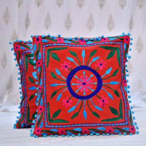Cotton Embroidered Brown Maize Cushion Covers- 16X16 Inch (Set Of 5)