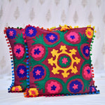 Cotton Embroidered Magenta Mandala Cushion Covers- 16X16 Inch (Set Of 5)