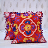 Pure Cotton Hand Embroidered  Multicolored Cushion Covers- Brown (Set Of 5)