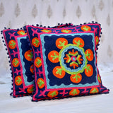 Cotton Embroidered Blue Spores Cushion Covers- 16X16 Inch (Set Of 5)