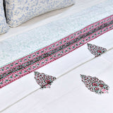 Pink & Green Motifs Block Print Cotton Double Bed Dohar (AC Quilt)