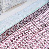 Tiny Pink Motifs Block Print Cotton Double Dohar (AC Quilt)