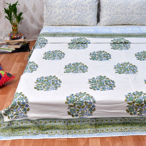 Green Floral Block Print Cotton Double Bed Dohar (AC Quilt)