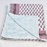 Pink Motifs Block Print Cotton Double Bed Dohar (AC Quilt)