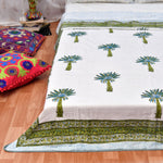 Tree Motifs Block Print Cotton Single Bed Dohar (AC Quilt)