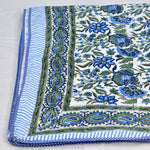 Blue Floral Block Print Cotton Single Bed Dohar (AC Quilt)