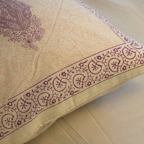 Block Print Purple Paisley Cushion Cover (Set of 5)