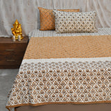 Hand Block Print Green & White Super King Size Cotton Double Bedsheet (108x108 inch)