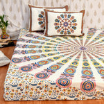 Yellow Mandala King Size Cotton Double Bedsheet