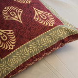 Block Print Maroon Mughal Cushion Cover (Set of 5)